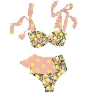 Pink Lemon Rose Ruffle High Waist Halter Bikini